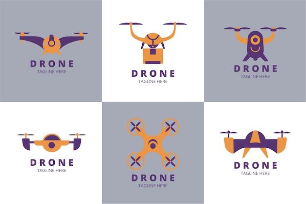 Pacchetto logo drone piatto