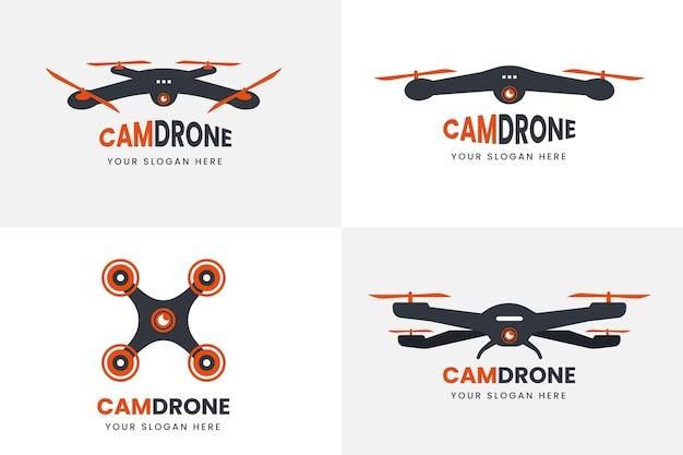 Flat drone logo set