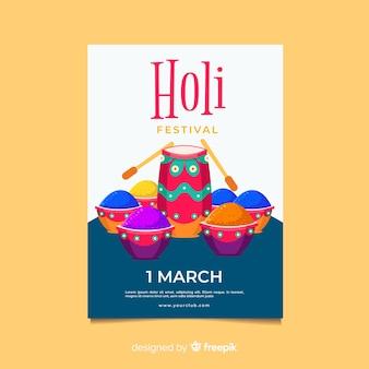 Flat drum holi festival poster