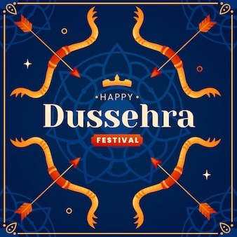 Flat dussehra festival illustration