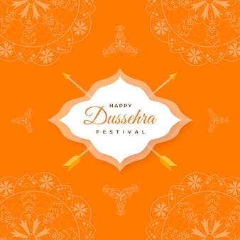 Flat dussehra greeting with traditional elements