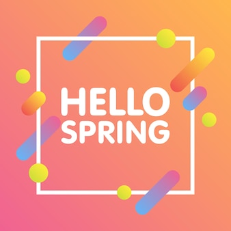 Flat dynamic background design. colorful geometric on white background with frame and hello spring text. vector illustration.