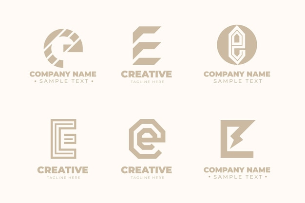 Flat e logo template collection