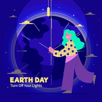 Flat earth hour illustration