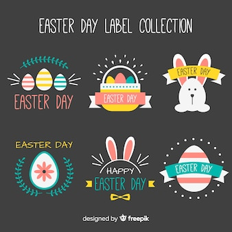 Flat easter badge collection
