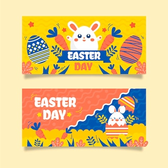 Flat easter banners collection