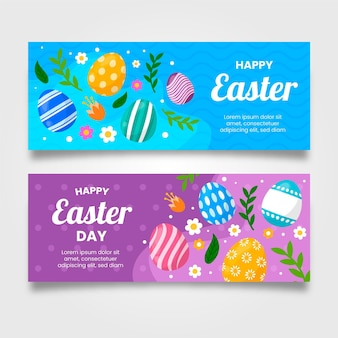 Flat easter banners set