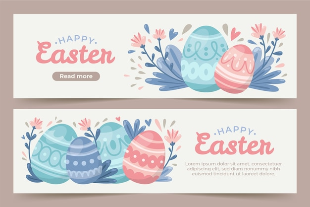 Flat easter banners