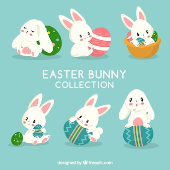 Flat easter bunnies collection
