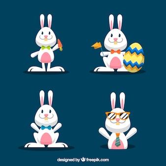 Коллекция плоских пасхальных кроликов