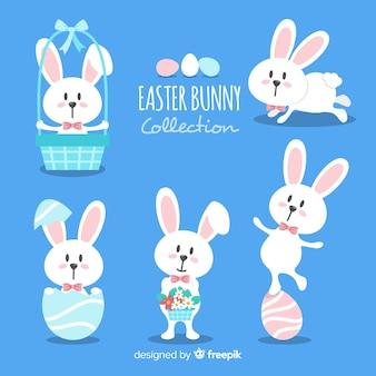 Flat easter bunny collection