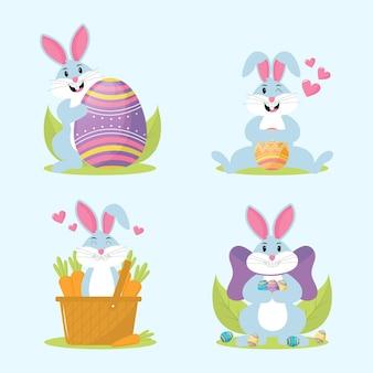 Collezione di coniglietto pasquale piatto