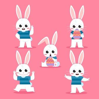 플랫 부활절 토끼 컬렉션
