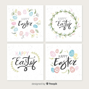 Flat easter card collection