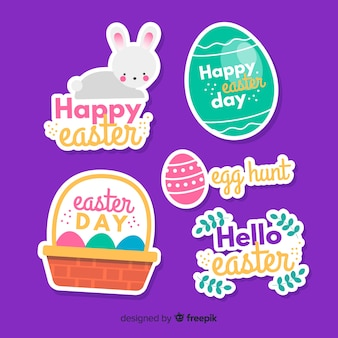 Flat easter day badge collection