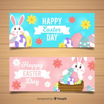 Flat easter day banner