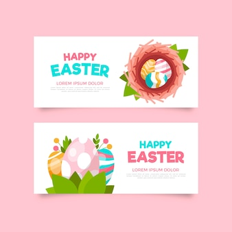 Flat easter day banners with eggs
