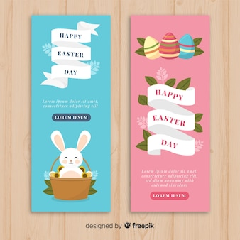 Flat easter day banners