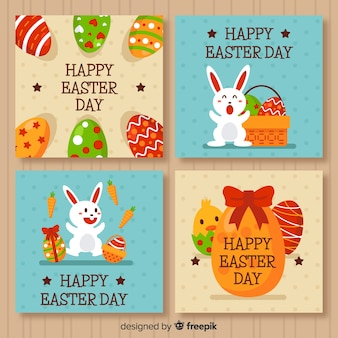 Flat easter day card collection