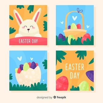 평평한 부활절 날 카드 컬렉션