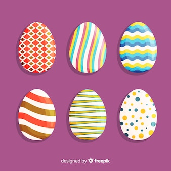 Flat easter day egg collection