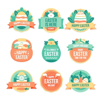 Flat easter day label collection