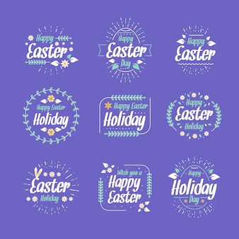 Flat easter day label pack