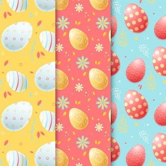 Flat easter day pattern collection