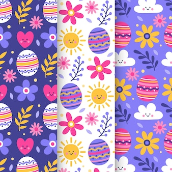 Flat easter day pattern pack