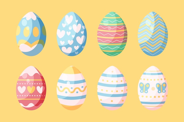 Flat easter egg collection
