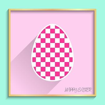 휴일 배경에 대한 기하학적 패턴 일러스트와 함께 평평한 부활절 달걀. 창의적이고 패션적인 스타일의 카드