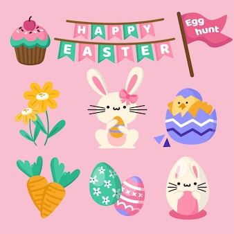 Flat easter element collection