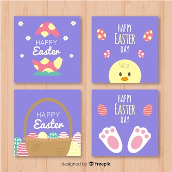 Flat easter elements card collection