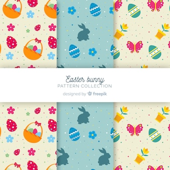Flat easter elements pattern set