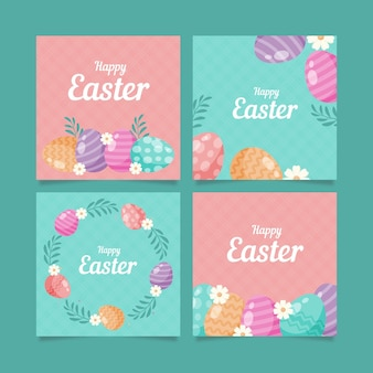 Flat easter instagram posts collection
