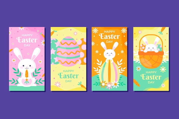 Flat easter instagram stories collection