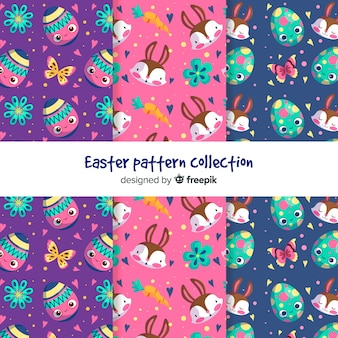 Flat easter pattern collection