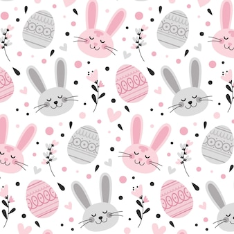 Flat easter pattern Free Vector
