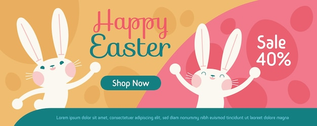 Flat easter sale banner