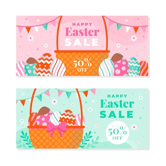 Flat easter sale horizontal banner collection