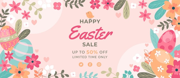 Flat easter sale horizontal banner