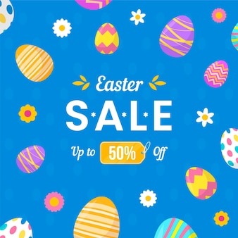 Flat easter sale illustration