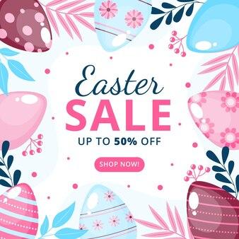 Flat easter sale illustration