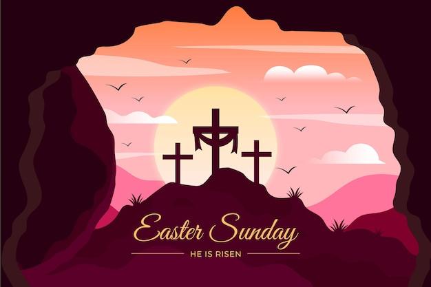 플랫 부활절 일요일 그림