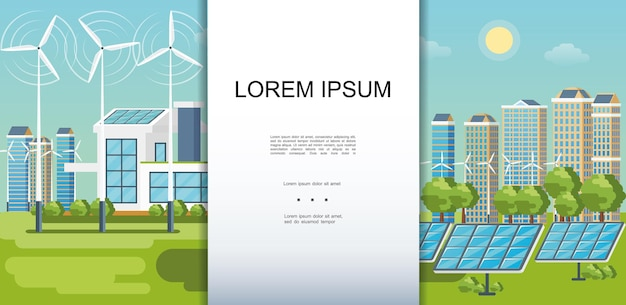 Flat eco city colorful template with modern buildings ecology houses wind turbines solar panels green trees
