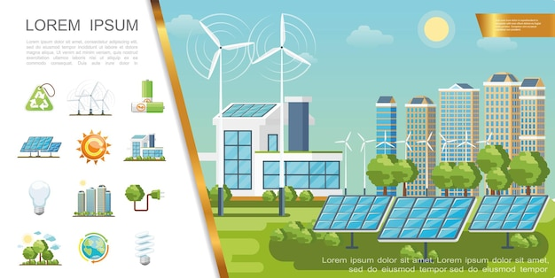 Flat eco city concept with solar panels wind turbines modern buildings recycling sign lightbulbs green trees batteries globe sun plug