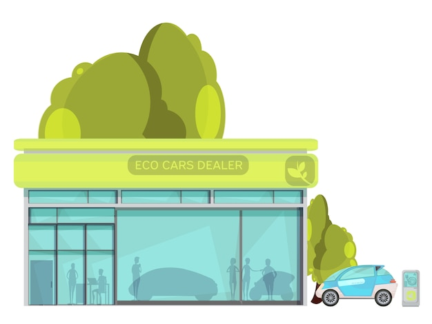 Flat eco friendly electric cars dealer centre on white background