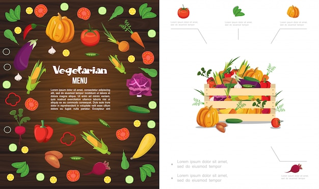 호박 옥수수 토마토 오이 당근 사탕 무우 마늘 양배추 감자 고추 완두콩의 나무 상자와 평면 에코 건강 식품 구성