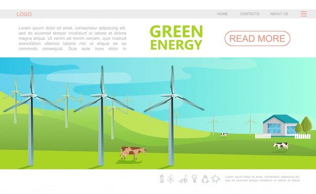 Плоский экологический красочный шаблон веб-страницы с меню навигации, ветряными мельницами, коровами и эко-домом