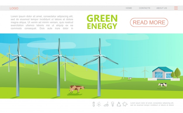 Flat ecology colorful webpage template with navigation menu windmills cows and eco house